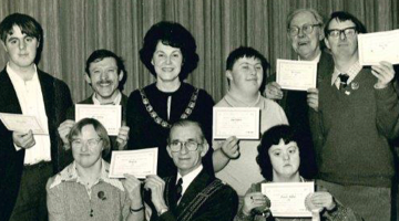 Town Mayor Gladys Foster with Club members, receiving Gateway Awards